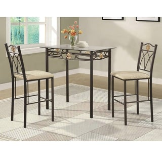 Home Source Crown 3 Piece Bistro Set with Glass Top Dining Table and Matching Pair of Fabric Chairs