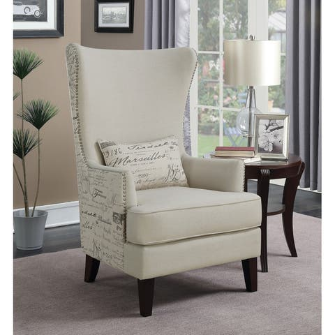 Traditional Cream and Brown Accent Chair