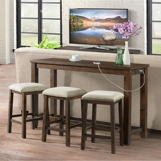 Picket House Furnishings Dex Walnut Finish Acacia Multipurpose Bar Table Set