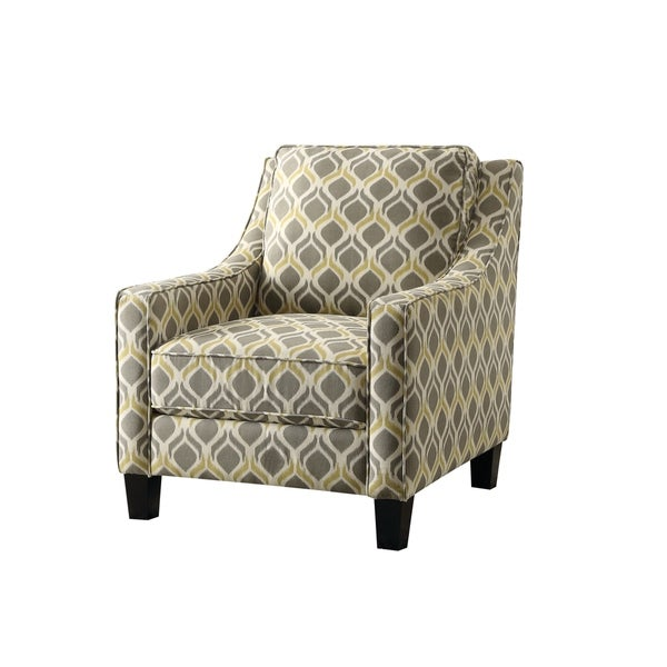 Traditional Grey And Yellow Accent Chair