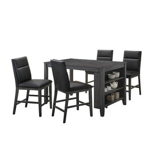 Home Source Calle Grey Counter Height 5 Piece Dining Set with Storage Dining Table and Black Faux Leather Pub Chairs