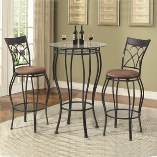 Home Source 3 Piece Bistro Set with Circular Glass Top Table and Pair of Brown Faux Suede Stools