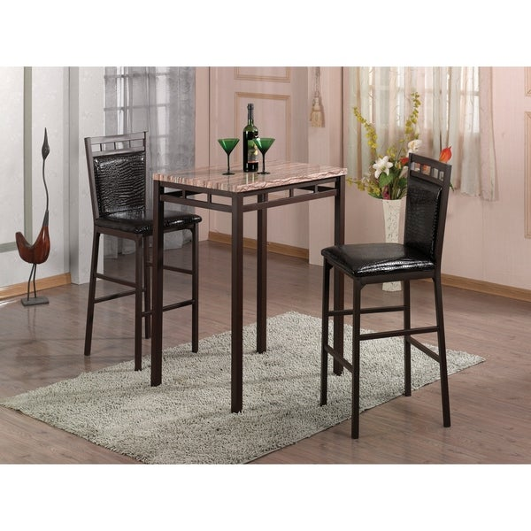 Faux Leather Brown Counter Stool Set Of 2 Dining Room Bar: Shop Home Source Amber 3 Piece Bistro Set With Counter