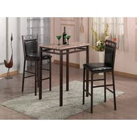 Home Source Amber 3 Piece Bistro Set with Counter Height Brown Faux Marble Table and 2 Textured Faux Leather Side Chairs
