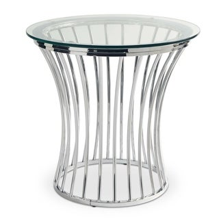 Picket House Furnishings Astoria Chrome Metal Round End Table with Glass Top