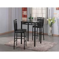 Home Source Eric Black Counter-height 3-piece Bistro Set