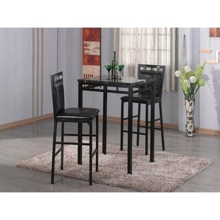 Home Source Amber 3 Piece Bistro Set with Counter Height Black Faux Marble Table and 2 Textured Faux Leather Side Chairs