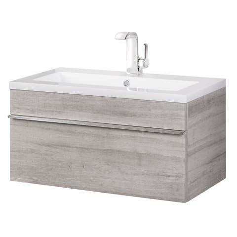 "Trough Collection 30"" Wall Mount Modern Bathroom Vanity - Soho"
