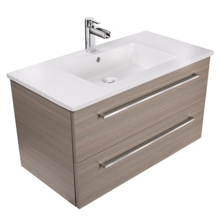 "Silhouette Collection 36"" Wall Mount Bathroom Vanity - 2 Drawers With Top, Aria"