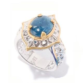 Michael Valitutti Palladium Silver Blue Apatite Ring
