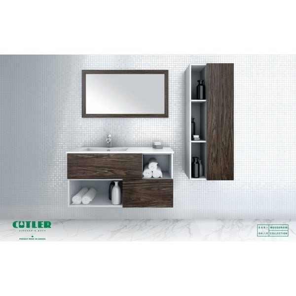 "Sangallo Woodgrain Collection 42"" Wall Mount Bathroom Vanity - Matt Top, 2 Drawer, Tete-a-tete"