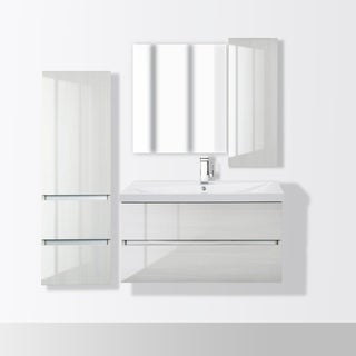 """Sangallo Gloss Collection 36"""" Wall Mount Bathroom Gloss Vanity - 2 Drawer with Top, White Birch"""
