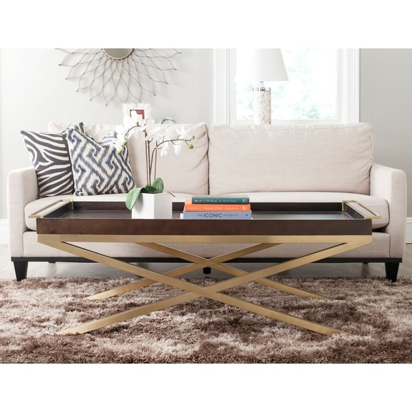 Safavieh Couture Rivington Coffee Table Brown And Gold