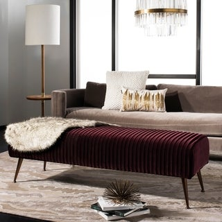 Safavieh Couture Salome Velvet Bench With Antique Brass Legs in Giotto Cabernet