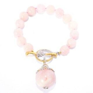 Michael Valitutti Palladium Silver Morganite Drop Charm & Bead Bracelet