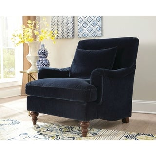 """Traditional Midnight Blue Accent Chair - 33.50"""" x 37.50"""" x 37"""""""