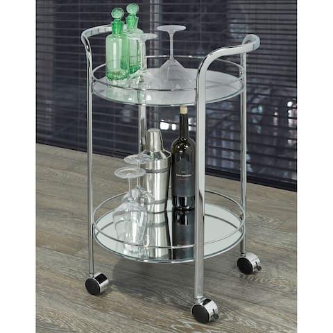 Neema-2 Tier Glass/Chrome Bar Cart