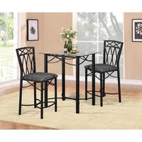 Home Source Emily 3 Piece Dinette Set with Counter Height Glass Table and 2 Side Chairs