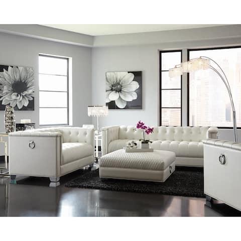 """Chaviano Contemporary White Sofa - 87"""" x 35.50"""" x 29.50"""""""