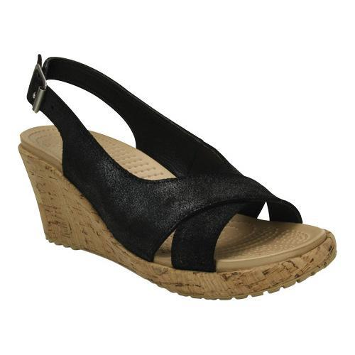 e1df9ea2c Shop Women s Crocs A-leigh Shimmer Leather Wedge Black Shimmer - Free  Shipping On Orders Over  45 - Overstock - 18910592