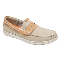 Men's Rockport Gryffen Penny Slip On Taupe Canvas