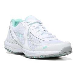 Women's Ryka Dash 3 Walking Shoe White/Chrome Silver/Yucca Mint