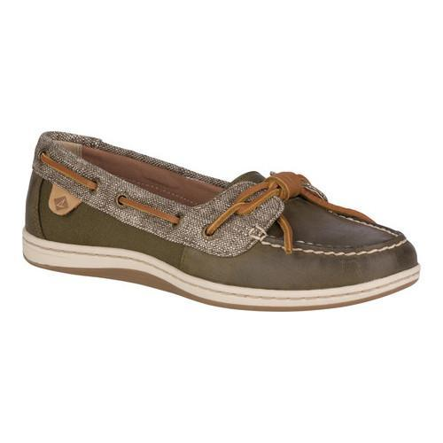 Women's Sperry Top-Sider Barrelfish Boat Shoe Dark Olive Leather/