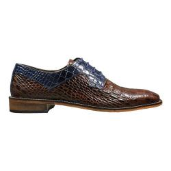 Men's Stacy Adams Garelli Plain Toe Oxford 25116 Cognac/Dark Blue Croco Print Leather