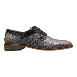 Men's Stacy Adams Garelli Plain Toe Oxford 25116 Gray/Black Croco Print Leather