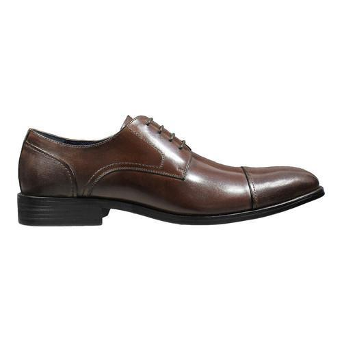 Men's Stacy Adams Jemison Cap Toe Oxford 25149 Brown Buffalo Leather