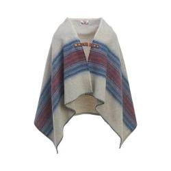 Woolrich Fireside II Wool Blanket Poncho Denim Stripe