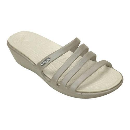 15793e2be2b8 Shop Women s Crocs Rhonda Wedge Sandal Platinum Oyster - Free Shipping On  Orders Over  45 - Overstock - 18916004