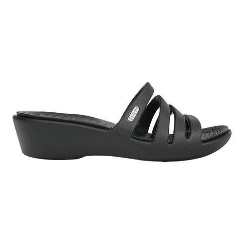70a3d2ba076 Shop Women s Crocs Rhonda Wedge Sandal Black Black - Free Shipping ...
