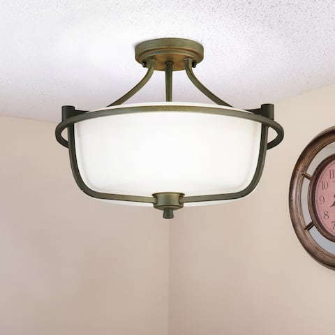 Eglo Mayview 3-Light Semi-Flush Ceiling Light in Bronze