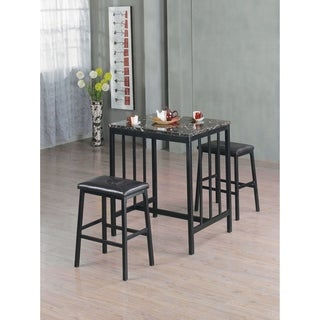 Home Souce Symphony 3 Piece Bar Table Set with Faux Marble Table and Pair of Faux Leather Saddle Back Stools