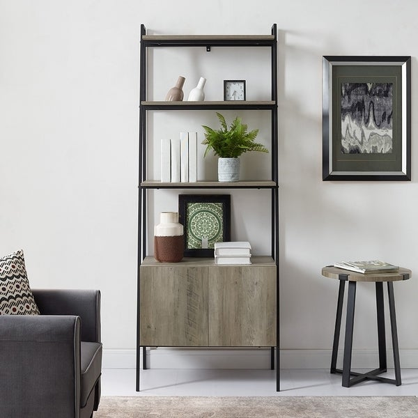 72 Tall Ladder Bookshelf With Storage Cabinet