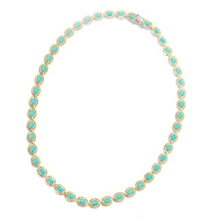 Michael Valitutti Palladium Silver Sleeping Beauty Turquoise Tennis Necklace