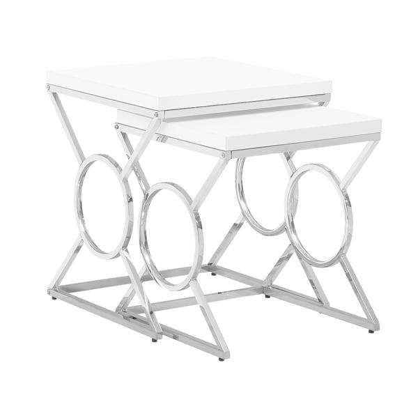 Nesting Table - 2Pcs Set / Glossy White / Chrome Metal