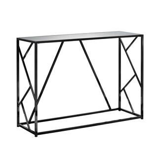 "Accent Table - 42""L / Black Nickel Metal / Mirror Top"