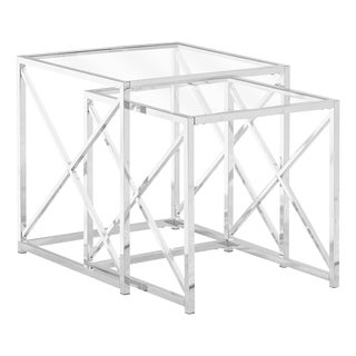Nesting Table - 2Pcs Set - Tempered Glass