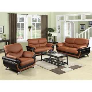 Simple Modern Faux Leather 3-PCS Furniture Set Multiple Colors by Golden Coast Furniture