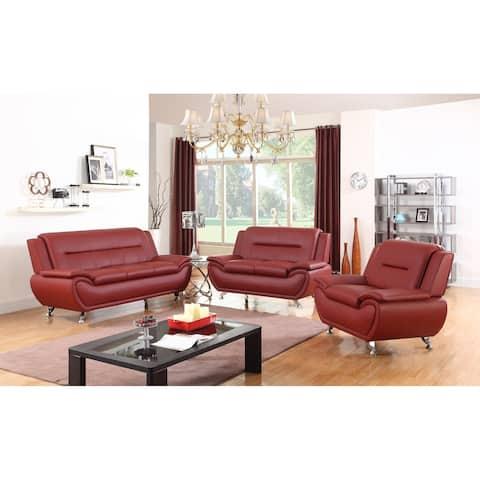 Golden Coast Furniture Simple Modern Faux Leather 3-PCS Furniture Set Multiple Colors