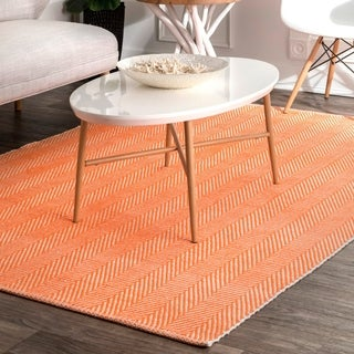 nuLOOM Orange Handmade Flatweave Herringbone Chevron Cotton Area Rug - 6' x 9'