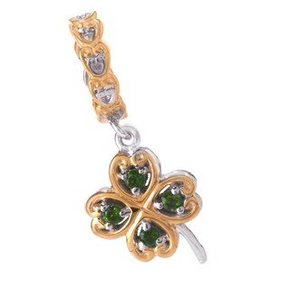 Michael Valitutti Palladium Silver Chrome Diopside Four Leaf Clover Drop Charm