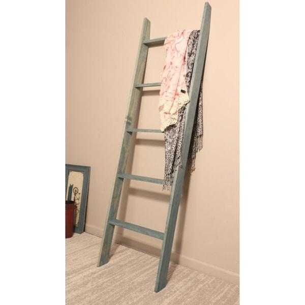 Farmhouse Blanket Ladder in Beach Blue