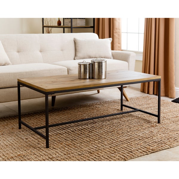 Rustic Coffee Table Black: Shop Abbyson Kirkwood Industrial Rustic Coffee Table In