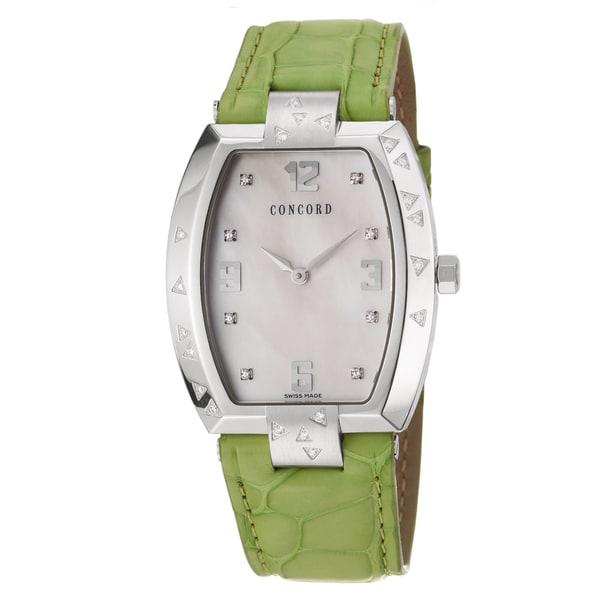 Concord La Scala Women's Diamond Steel Watch with Green Leather Strap