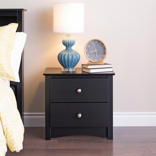 Broadway Black 2-drawer Nightstand