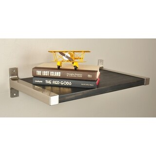 Link to Large 12 in. wide Modern Black Shelf with Silver Bracket Hardware Similar Items in Accent Pieces