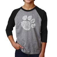 LA Pop Art Boy's Raglan Baseball Word Art T-shirt - Cat Paw
